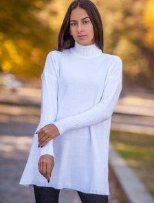 Белое теплое шерстяное платье свитер с горловной
