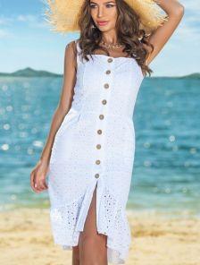 Белое летнее платье сарафан с открытыми плечами