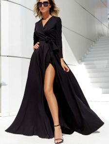 Вечернее черное платье с длинным рукавом