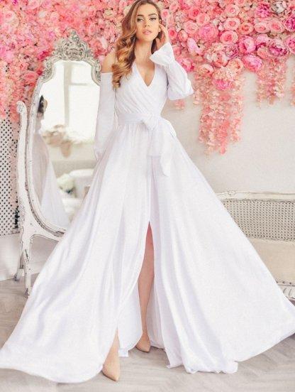 Вечернее белое шелковое платье в пол на запах, фото 1