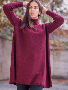 Бордовое теплое шерстяное платье трапеция с горловной на длинный рукав
