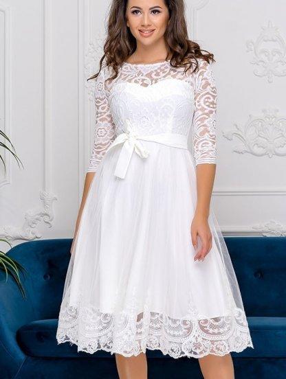 Белое нарядное короткое кружевное платье с рукавом 3/4, фото 1