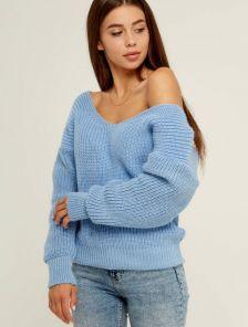 Женский теплый вязаный зимний свитер со спущенным верхом