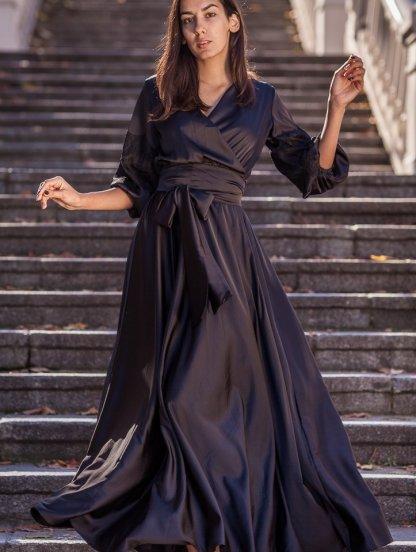Длинное черное шелковое платье на запах с рукавами фонариками, фото 1