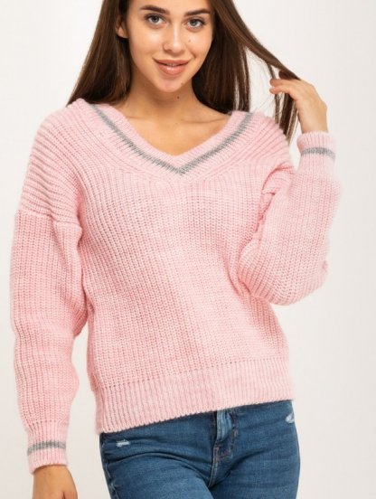 Розовый теплый вязаный свитер со спущенным верхом, фото 1