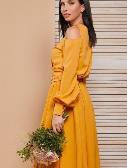 Нарядное длинное платье с открытыми плечами на длинный рукав, фото 1