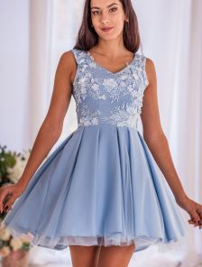 Голубое коктейльное короткое пышное платье
