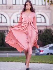 Шелковое нарядное платье до косточки на длинный рукав