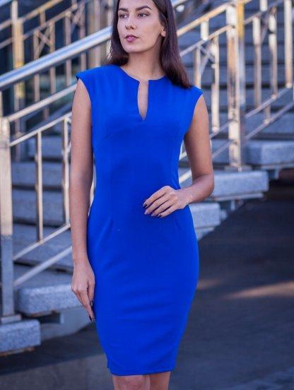 Синее платье футляр длины миди с вырезом без рукавов, фото 1