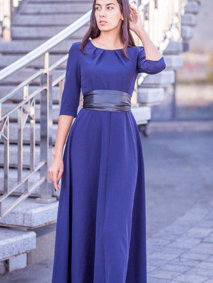 Вечернее синее платье на рукав 3/4, фото 1