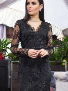 Черное кружевное платье по фигуре с прозрачными кружевными рукавами