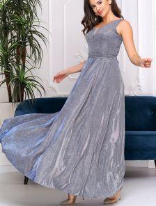 Вечернее блестящее серебристое платье в ресторан и на вечеринку