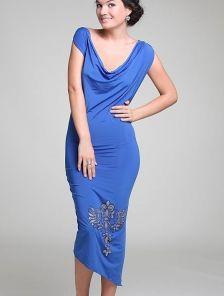 Синее асимметричное платье с открытой спинкой