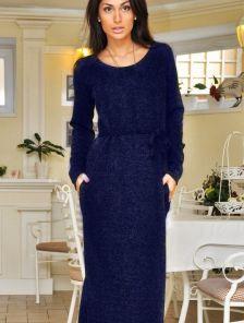 Ангоровое длинное темно-синее платье в пол