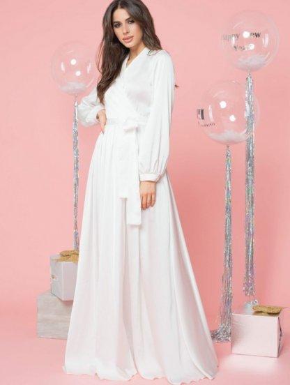 Вечернее белое шелковое платье в пол с длинными рукавами, фото 1