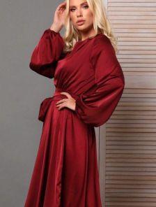 Платье миди с поясом и длинным рукавом в бордовом цвете