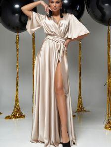 Длинное вечернее шелковое бежевое платье с коротким рукавом