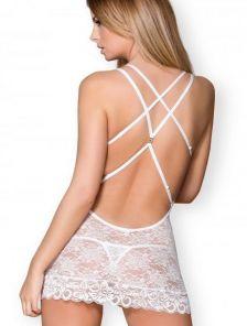 Кружевная белаясексуальна сорочка с открытой спинкой