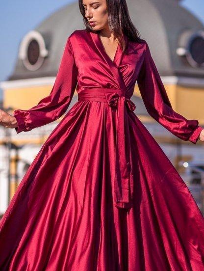 Длинное вечернее платье для полных на длинный рукав, фото 1