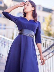 Вечернее синее платье на длинный рукав