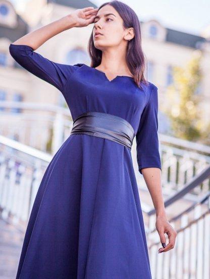 Вечернее синее платье на длинный рукав, фото 1