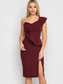 Бордовое вечернее платье с разрезом до колена