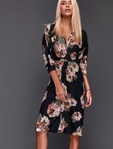Черное нарядное люрексовое платье миди с цветами