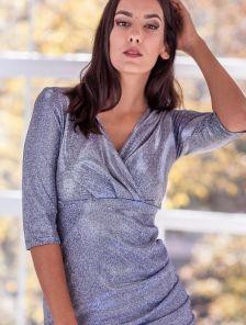 Нарядное короткое серебристое блестящее платье