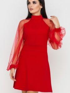 Короткое коктейльное платье на длинный рукав