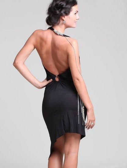 Короткое черное платье с открытой спиной и ассиметричной юбкой, фото 1