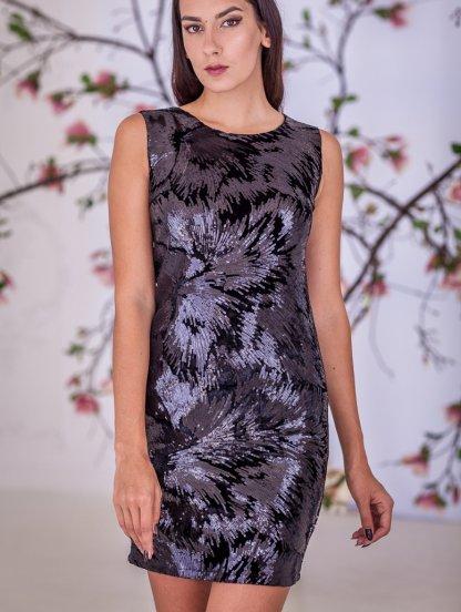 Вечернее черное коктейльное платье с пайетками, фото 1