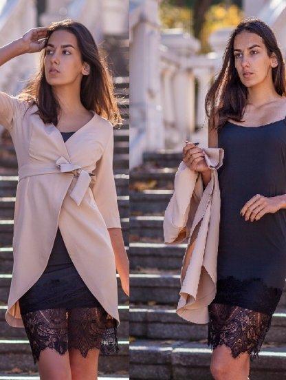 Платье двойка: молодежное бельевое платье с кружевом и светлый пиджак, фото 1