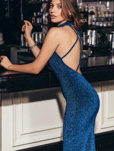 Праздничное люрексовое вечернее оригинальное платье с открытой спиной