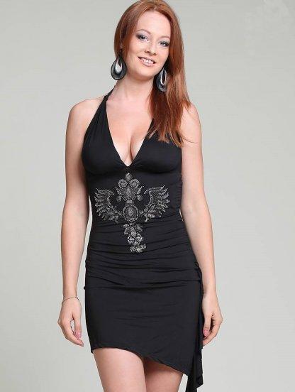 Черное мини платье с камнями стразами, фото 1