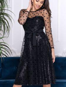Коктейльное короткое черное платье сетка в горох