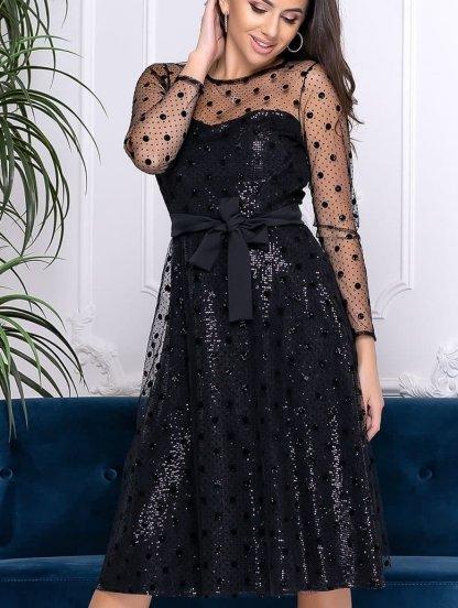 Коктейльное короткое черное платье сетка в горох, фото 1