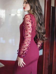 Бордовое платье по фигуре с поясом и принтованным рукавом длины миди