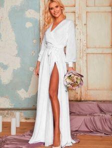 Вечернее белое шифоновое платье в пол