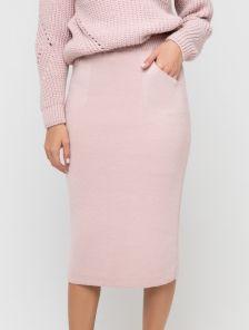 Пудровая теплая прямая юбка с карманами на подкладке 30 % шерсть