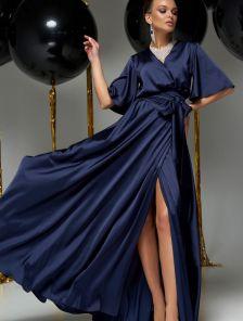 Длинное вечернее шелковое синее платье с коротким рукавом
