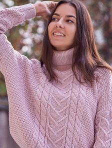 Теплый пудровый свободный шерстяной свитер