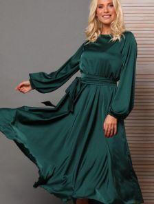 Платье миди с поясом и длинным рукавом в зеленом цвете