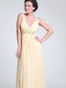 Длинное вечернее платье в греческом стиле с камнями
