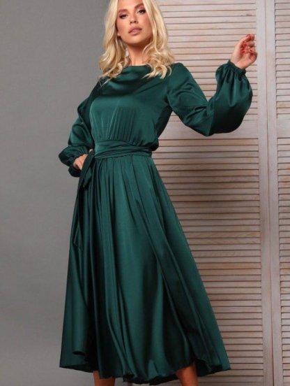 Платье миди с поясом и длинным рукавом в зеленом цвете, фото 1