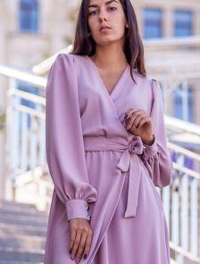 Вечернее шифоновое лиловое платье в пол с разрезом