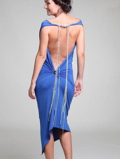 Синее асимметричное платье с открытой спинкой, фото 1