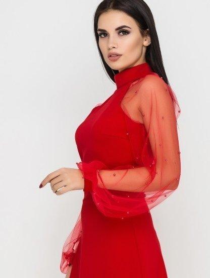 Короткое коктейльное платье на длинный рукав, фото 1
