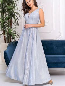 Вечернее серебристое платье в ресторан и на вечеринку
