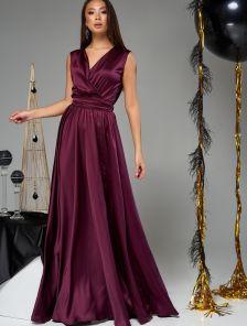 Длинное шелковое платье большого размера