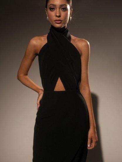 Нарядное длинное платье с открытой спиной и плечами, фото 1